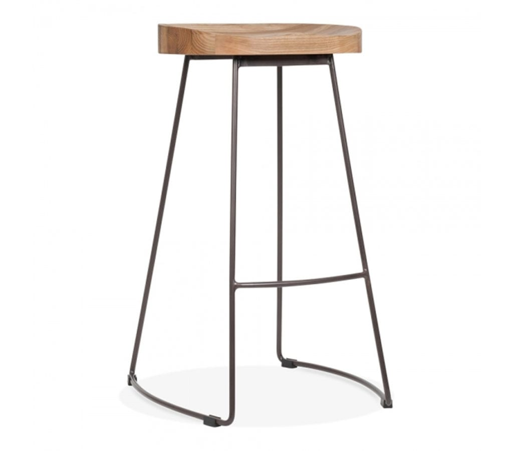 Viborg Vintage Metal High Stool With Natural Wood Seat